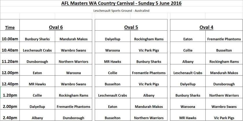 Country Carnival 2016 Fixture