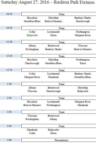 2016 Metro Carnival Fixtures